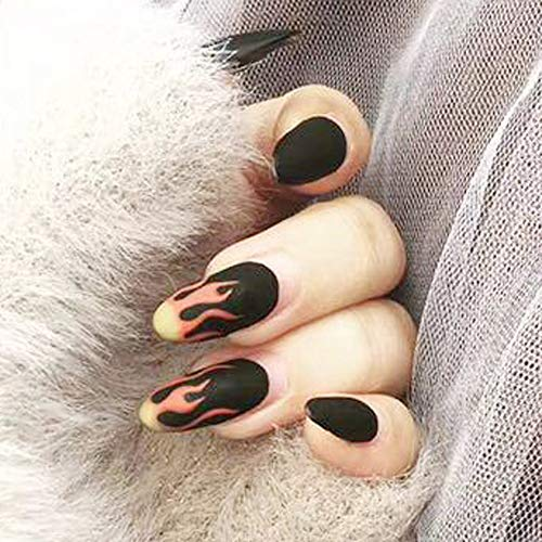Aegenacess 24Pcs False Nails Medium Oval Fake Design Black Matte Press On Gel Nail Acrylic Artificial Manicure Tips French With Double Sided Stickers for Women and Girls