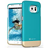 Samsung Galaxy S6 Edge Case, VENA [iSlide] Slim Fit Hard Rubber-Coated Case Cover for Samsung Galaxy S6 Edge (Topaz Blue / Champagne Gold)