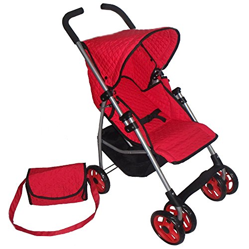 (Swivel Wheels Single Doll Stroller Red Quilted Fabric- New Luxury Collection - with Free Diaper Bag)