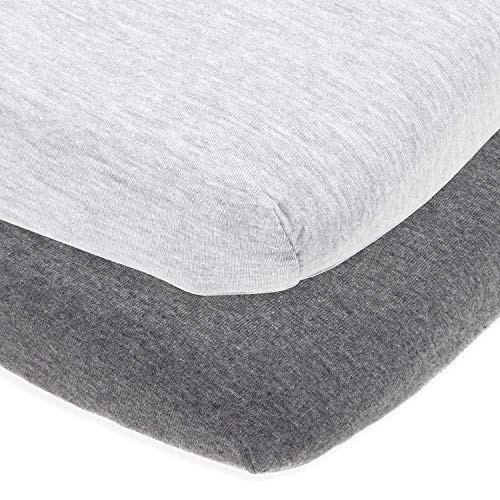 Bassinet Sheets Set by Cuddly Cubs | Easy to Put On Arms Reach Co Sleeper, Chicco Lullago, Halo bassinest and Many Other Oval, Rectangle Shape Bassinet Pads | 100% Jersey -