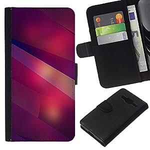 KLONGSHOP // Tirón de la caja Cartera de cuero con ranuras para tarjetas - Moderno Formas Arte Líneas Púrpura Rojo - Samsung Galaxy Core Prime //