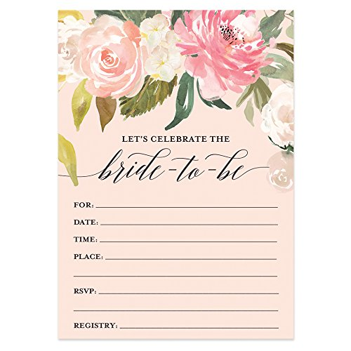Digibuddha Bridal Shower Invitations with Envelopes (Pack of 50) Beautiful Fill-in Floral Wedding Shower Party Invites Excellent Value Invitations VI0039 -