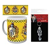 Set: Harry Potter, Hufflepuff Photo Coffee Mug (4x3 inches) and 1 Harry Potter, Keychain Keyring For Fans (6x3 inches)