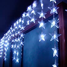4M x 0.7M 90 LED 8 Modes Star Pentagram Wave Light Indoor / Outdoor Party Christmas Xmas Star Pentagram Wave Shape String Fairy Wedding / Hotel / Festival Curtain Light Curtain Festival Light Christmas Xmas Decoration (White)