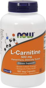 NOW Supplements, L-Carnitine 500mg, Purest Form, Amino Acid, Fitness Support*, 180 Veg Capsules