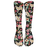 PUG Flower Compression Socks Soccer Socks Knee High Socks For Running, Medical, Athletic, Edema, Diabetic, Varicose Veins, Travel, Pregnancy, Shin Splints, Nursing.