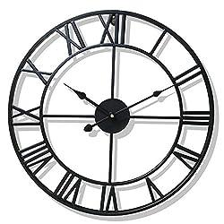 40/47CM Nordic Metal Roman Numeral Wall Clocks Retro Iron Round Face Black Gold Large Outdoor Garden Clock Home Decoration,Black,47 cm