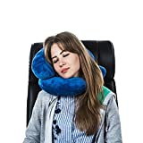 J & U Travel Pillow- For Airplane, Bus, Train & Car- Neck Support Cervical Pillow For Traveling, Sleeping & Office - Best Solution For Relief From Neck Pain Soft & Comfy-Blue