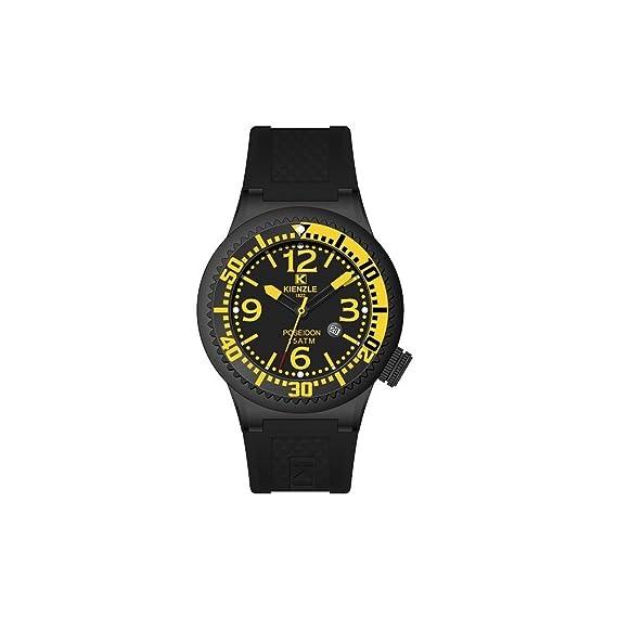 relojes de pulsera de hombres KIENZLE Poseidón 720/3058 correa de caucho negro