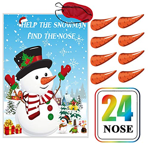 CQI Pin The Nose On The Snowman Christmas Game - Snowman Noses Christmas Decorations Party Game for Kids - 24 Nose