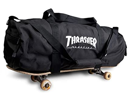 fbedc98621f Image Unavailable. Image not available for. Color  Thrasher Magazine  Embroidered Skate Mag Logo Duffle Bag - Black ...
