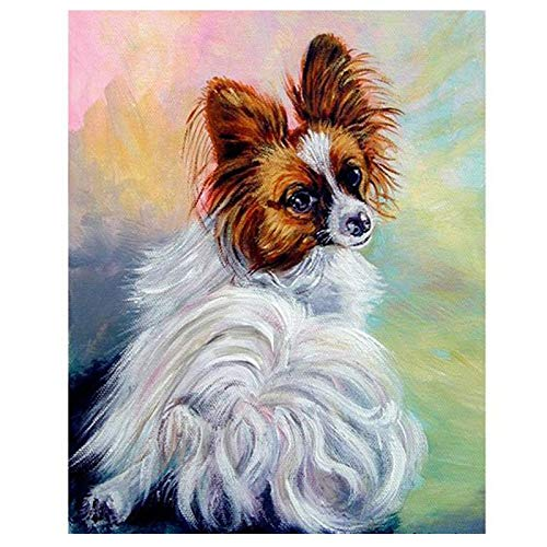 Zimal DIY Diamond Painting Colorful Dog Crystal Papillon Paintings by Numbers Diamond Embroidery Cross Stitch Mosaic Decoration 11.8 x 15.8 Inch