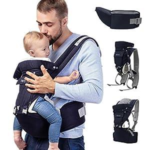 Sweety Fox – Porte Bébé Multiposition avec Siège à Hanche Bleu – Pour Bebe et Enfant de 3 mois à 3 ans – Coton et Maille…