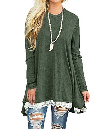 Casual Long Sleeve ALine Swing Tunic Shirt Dress for Women Plus Size Green XL