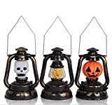 URToys 3Pcs Funny Halloween Pumpkin Skull Witch Portable Music Lantern Night Light Lamp Halloween Props Decorations Supplies Home Party Decor