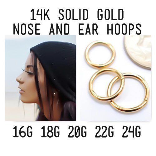 14K Yellow Gold Seamless Nose Ring Cartilage Hoop Earring Daith Helix Conch Tragus Orbital Rook Snug