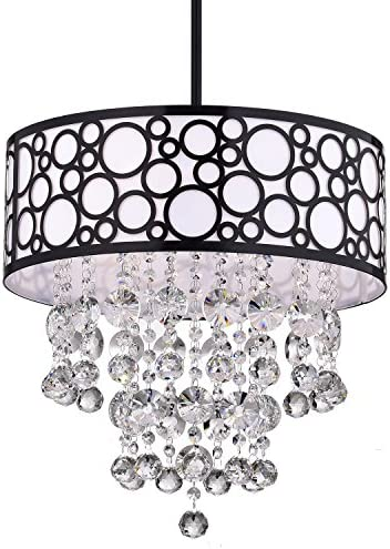 Edvivi 3-Light Black Bubble Pattern Round Drum Shade Chandelier Ceiling Fixture with Hanging Crystals Contemporary Lighting
