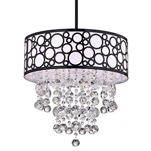 Edvivi 3-Light Black Bubble Pattern Round Drum Shade Chandelier Ceiling Fixture with Hanging Crystals | Contemporary Lighting