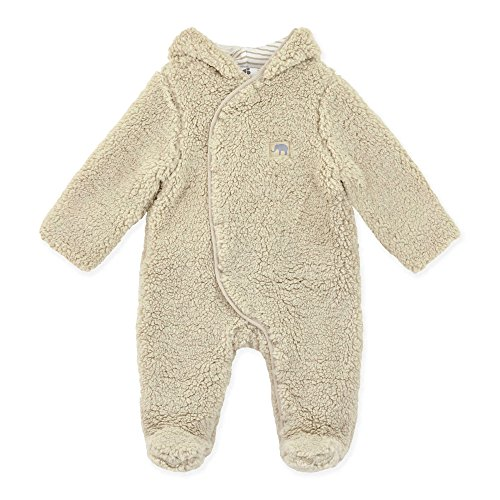 Flax Coat (Just Born Baby Infant Keepsake Pram Suit, Soft Sherpa, Flax, 0-3 Months)