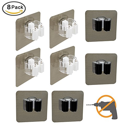 MENXEN Broom Mop Holder, Broom Gripper Holds Self Adhesive Reusable No Drilling Super Anti-Slip, Wall Mounted Storage Rack Storage & Organization for Your Home, Kitchen and Wardrobe (8 Pack)