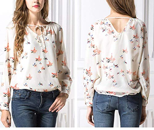 F Shirt Bandage Mousseline Tops Button Grau Mode lgant Longues Jeune Chemisiers Chemisier Costume Modle Chic V Impression Mode Femme Et Casual Manches Cou Printemps Unique xwBx0Stqa