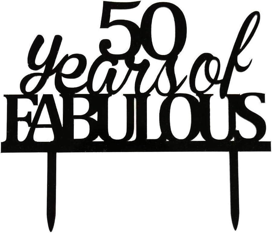Decoración para tarta de 50 años de fabulosa decoración acrílica negra para 50 o 50 años de fiesta de cumpleaños: Amazon.es: Hogar