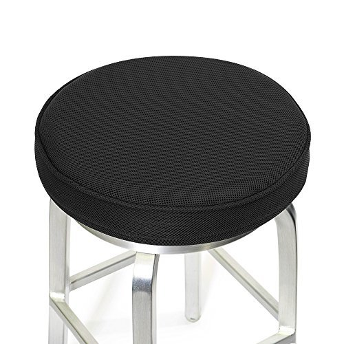 Shinnwa Bar Stool Cushions,Memory Foam Bar Stool Covers Round Cushion with Non-Slip Backing and Elastic Band 14'' Black