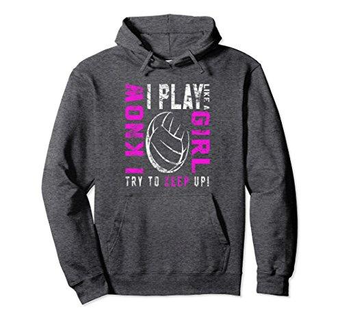 Unisex Volleyball Hoodie For Teen Girls Large Dark Heather