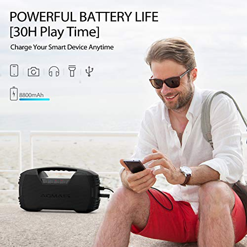 AOMAIS GO Bluetooth Speakers,Waterproof Portable Indoor/Outdoor 30W Wireless Stereo Pairing Booming Bass Speaker,30-Hour Playtime with 8800mAh Power Bank,Durable for Home Party,Camping(Black)