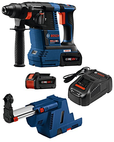Cheap Bosch GBH18V-26K24GDE 18V EC Brushless 1 In. SDS-plus Bulldog Rotary Hammer Kit with (2) CORE18V 6.3 Ah Batteries and Dust-Collection Attachment