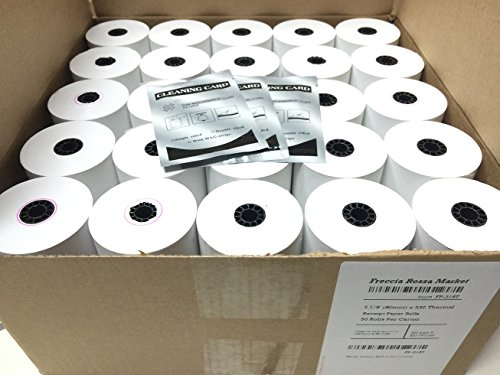 Freccia Rossa Market, Thermal Receipt Paper, 3-1/8'' X 230, White, 50 Rolls/pk, Special Kit (Includes 3 Mag-Stripe Cleaner Cards) by Freccia Rossa Market