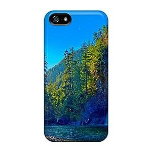 New Premium Flip Case Cover Waterfalls Golden Beams Skin Case For Iphone 5/5s