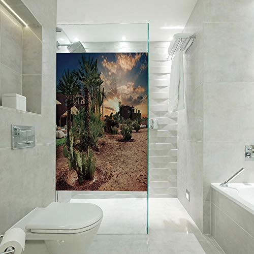 - 3D printing Customized Window Film Glass stickers,Majestic Sky View Palm Trees and Cactus in Oasis Morocco Tropic Nature,Customizable size,Suitable for bathroom,door,glass etc,Blue Green Light Brown