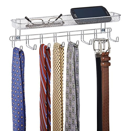 mDesign Wall Mount Closet Organizer for Ties, Belts, Wallets with Shelf - Chrome (Shelves Closet Chrome)