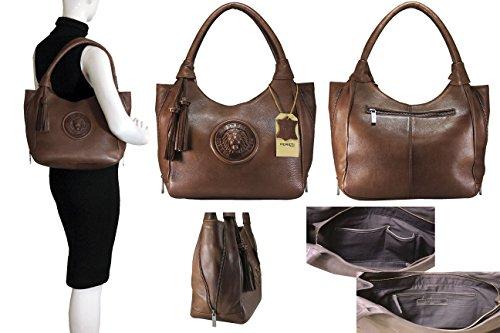 FERETI borse Marrone con portafoglio corrispondente set borsellos di alta qualità in vera pelle