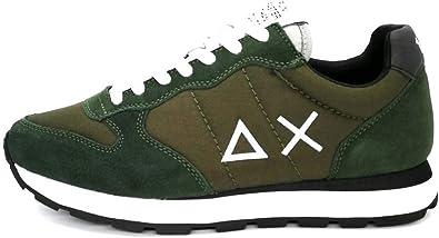 Sun68 - Zapatillas Deportivas para Hombre Running Tom Solid de Nailon con Doble cordón Verde, Verde Militar y Negro Verde Size: 45 EU: Amazon.es: Zapatos y complementos