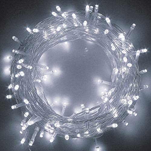 Twinkle Star 83FT 200 LED String Lights White, Plug in String Lights 8 Modes Waterproof Indoor Outdoor Christmas Tree Wedding Party Bedroom Wall Decoration, Extendable -