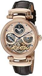 "Stuhrling Original Men's 353A.334K14 ""Magistrate"" 18k Rose Gold-Layered Automatic Watch with Leather Band"