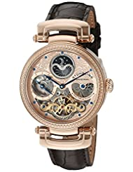 Stuhrling Original Men's 353A.334K14 Special Reserve Emperor Magistrate Automatic Skeleton Dual Time Zone Rose Tone Watch