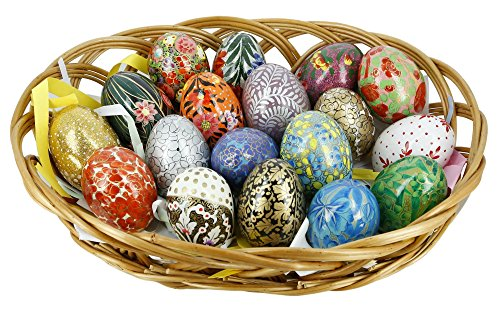 ShalinIndia Paper Mache Wooden Ornaments Easter Eggs Decorations Set of 18