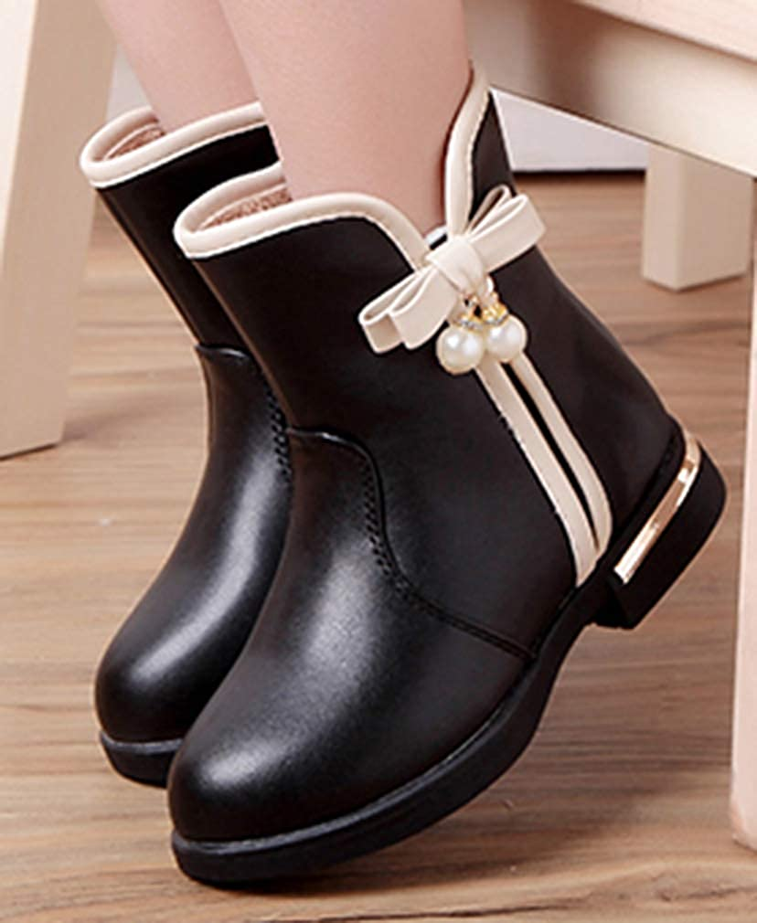 VECJUNIA Girls Sweet Ankle Boots with Bows Waterproof Zip Up Winter Shoes