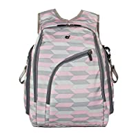 ECOSUSI Diaper Backpack Fully-opened Baby Diaper Bag with Changing Pad Pink a...