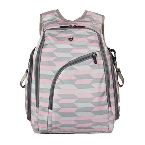 ECOSUSI Diaper Backpack Fully-opened Baby Diaper Bag with Changing Pad Pink and (700g Bottle)