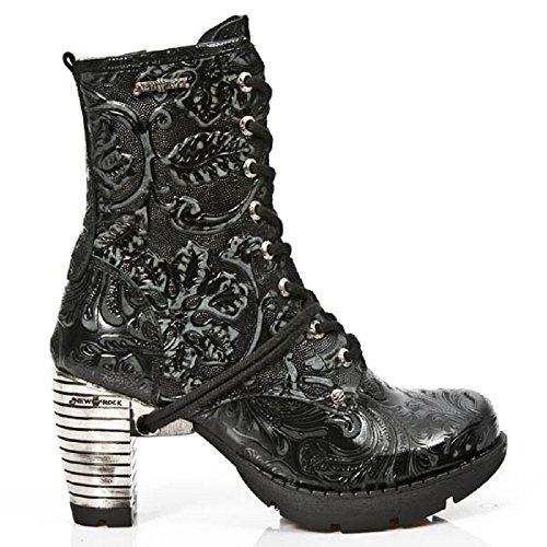 Tr001 Tacco Rock D'acciaio S24 Nero Gotiche Fiore Vintageune Newrock Stivali New Del zExHqFww