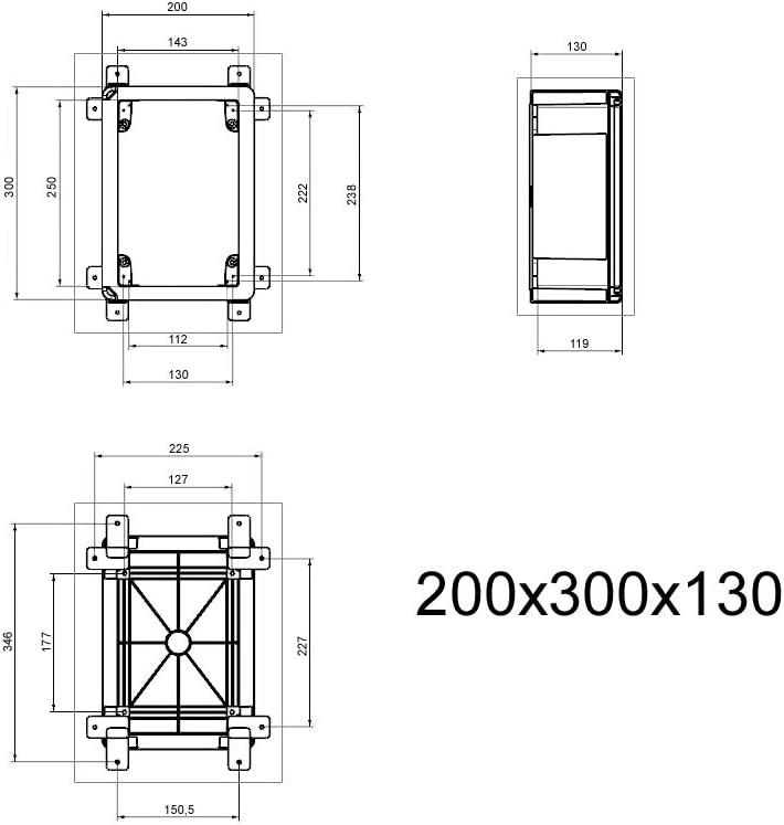 Schaltschrank IP65 Industriegeh/äuse 600 x 800 x 260 mm verzinkter Montageplatte Verriegelung T/ür mit umlaufender Dichtung Geh/äuse Leergeh/äuse ABS Kunststoff leer Schrank ARLI 60 x 80 x 26 cm