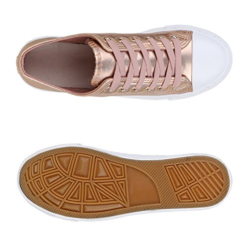 345304281438 ... Stiefelparadies Glitzer Damen Sneakers Sneaker Low Metallic Schnürer  Denim Flats Turnschuhe Sportschuhe Flandell Rose Gold Weiss