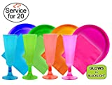 Tiger Chef 136-Piece Fiesta Neon Champagne Flutes Party Pack Includes Hard Plastic Plates, Neon Paper Napkins and Plastic Champagne Glasses in Pink, Blue, Green and Orange Glow Party (Service for 20)