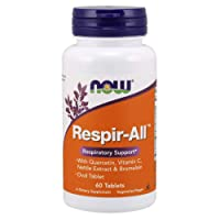 NOW Supplements, Respir-All™ with Quercetin, Vitamin C, Nettle Extract and Bromelain, Respiratory Support*, 60 Tablets