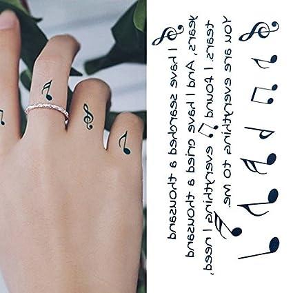 Oottati Tatuajes Temporales Dedo Notas Música (Juego De 2): Amazon ...