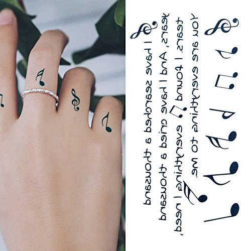 Oottati Small Cute Temporary Tattoo Music Notes Finger (Set of 2) -